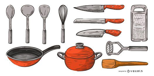 kitchen tools hand drawn color set