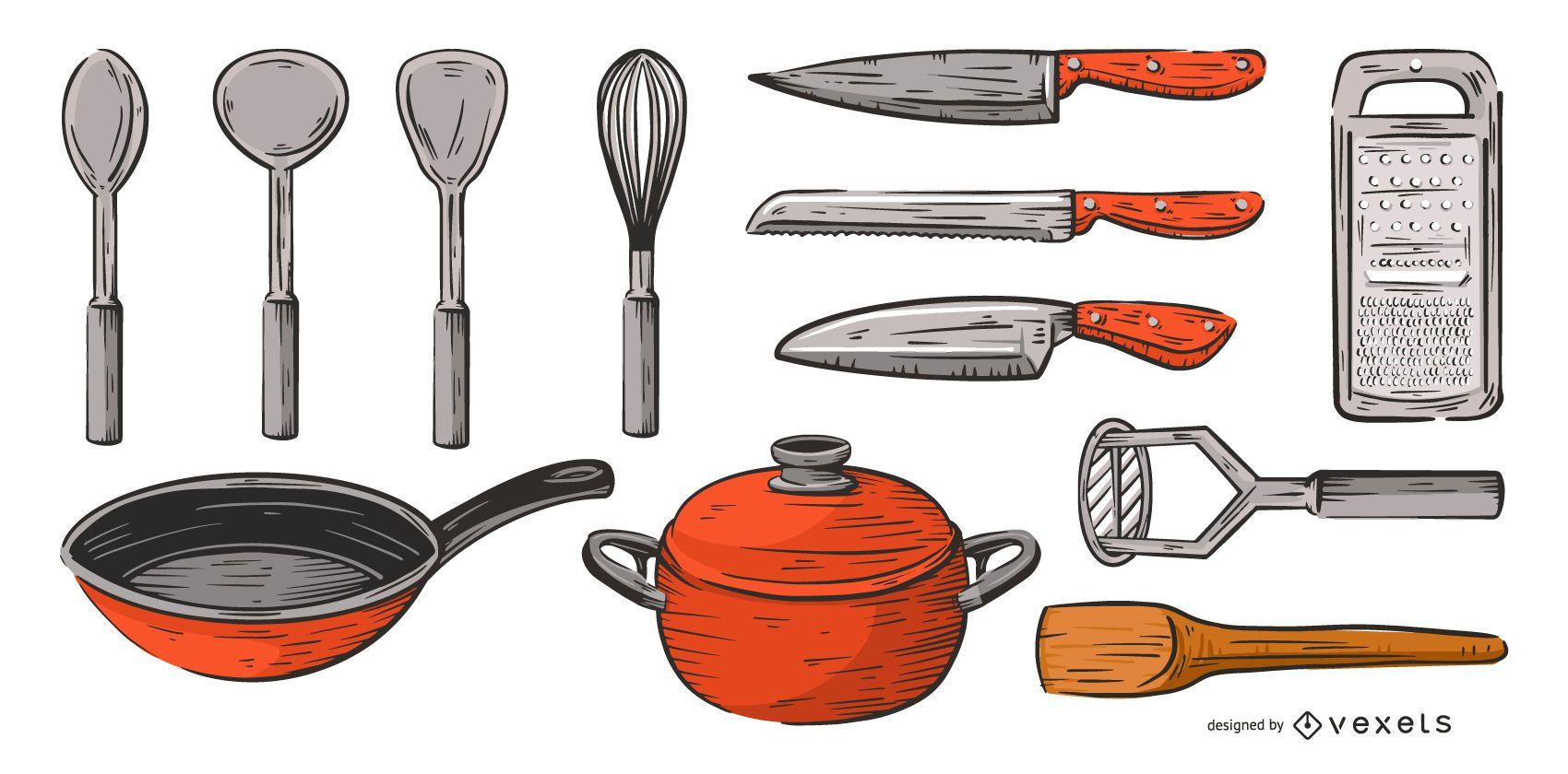 herramientas de cocina conjunto de colores dibujados a mano