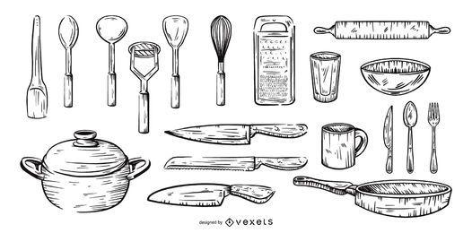 conjunto de ferramentas de cozinha desenhado à mão