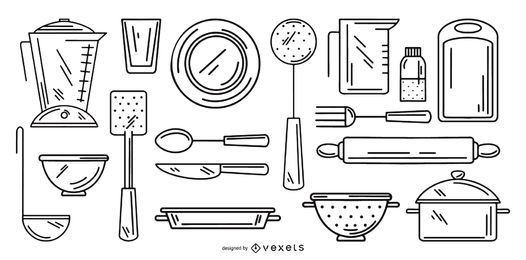 kitchen tools stroke collection set