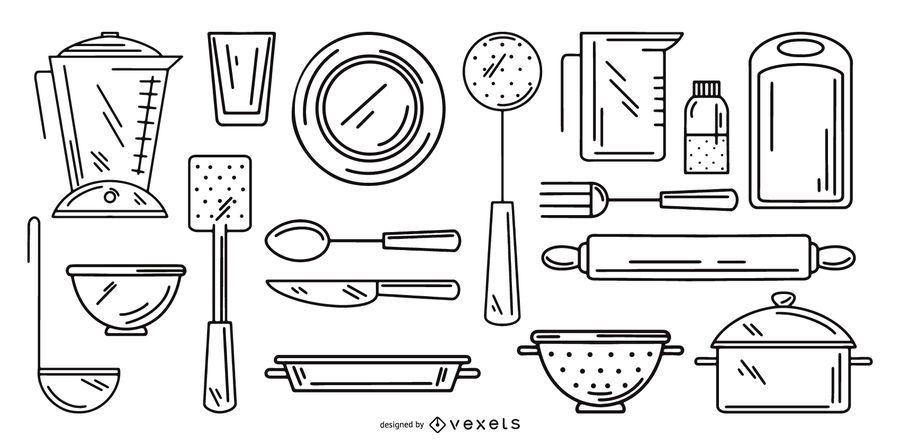 conjunto de coleta de traçado de ferramentas de cozinha