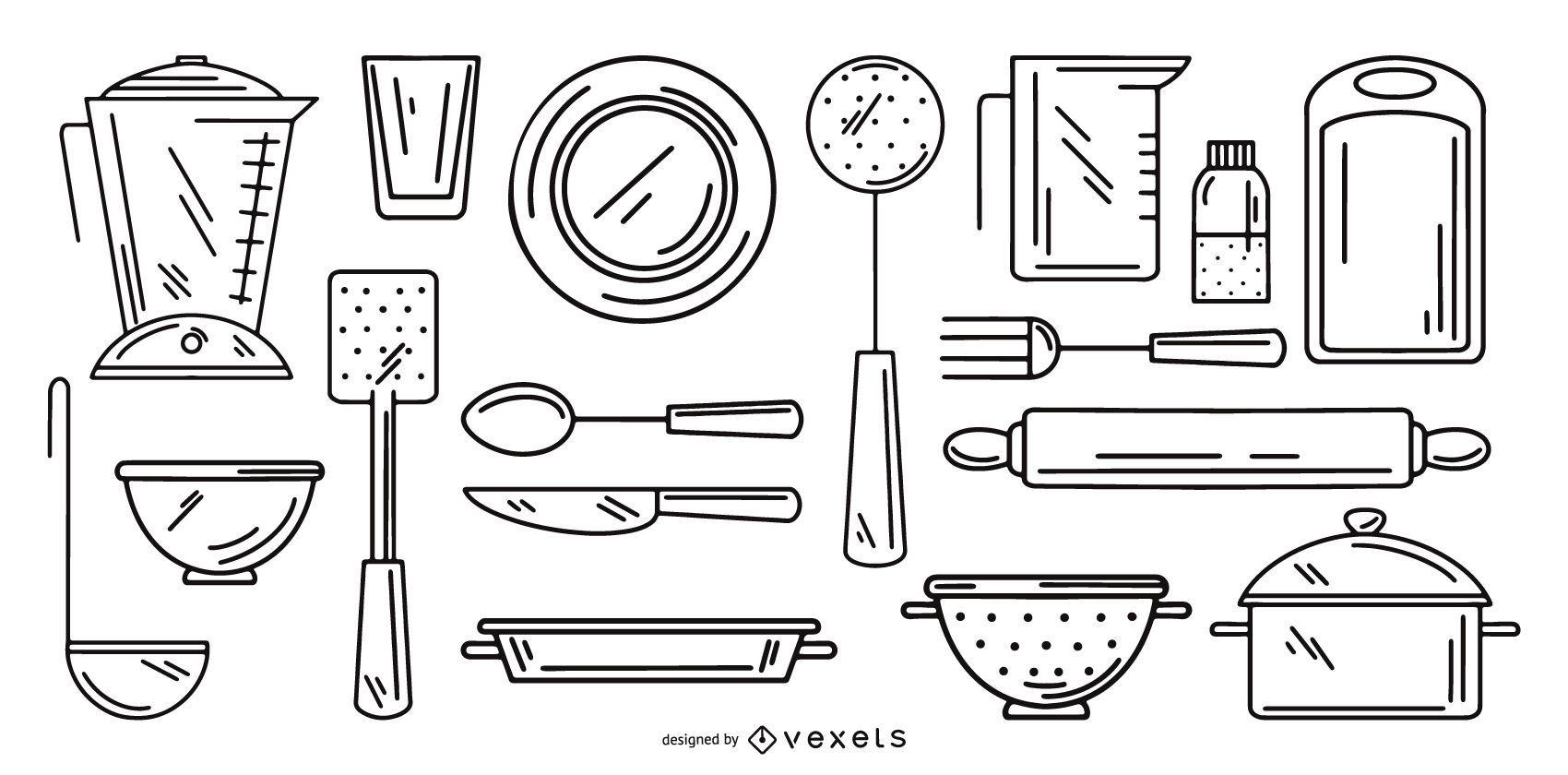 conjunto de colección de trazos de herramientas de cocina