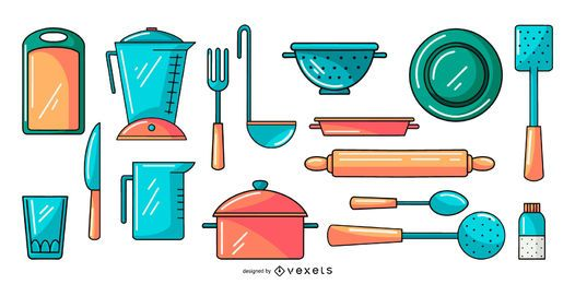 kitchen tools illustration collection set