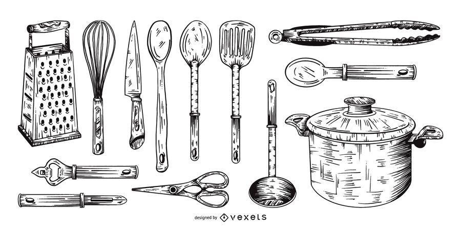 conjunto de coleta de mão desenhada de ferramentas de cozinha