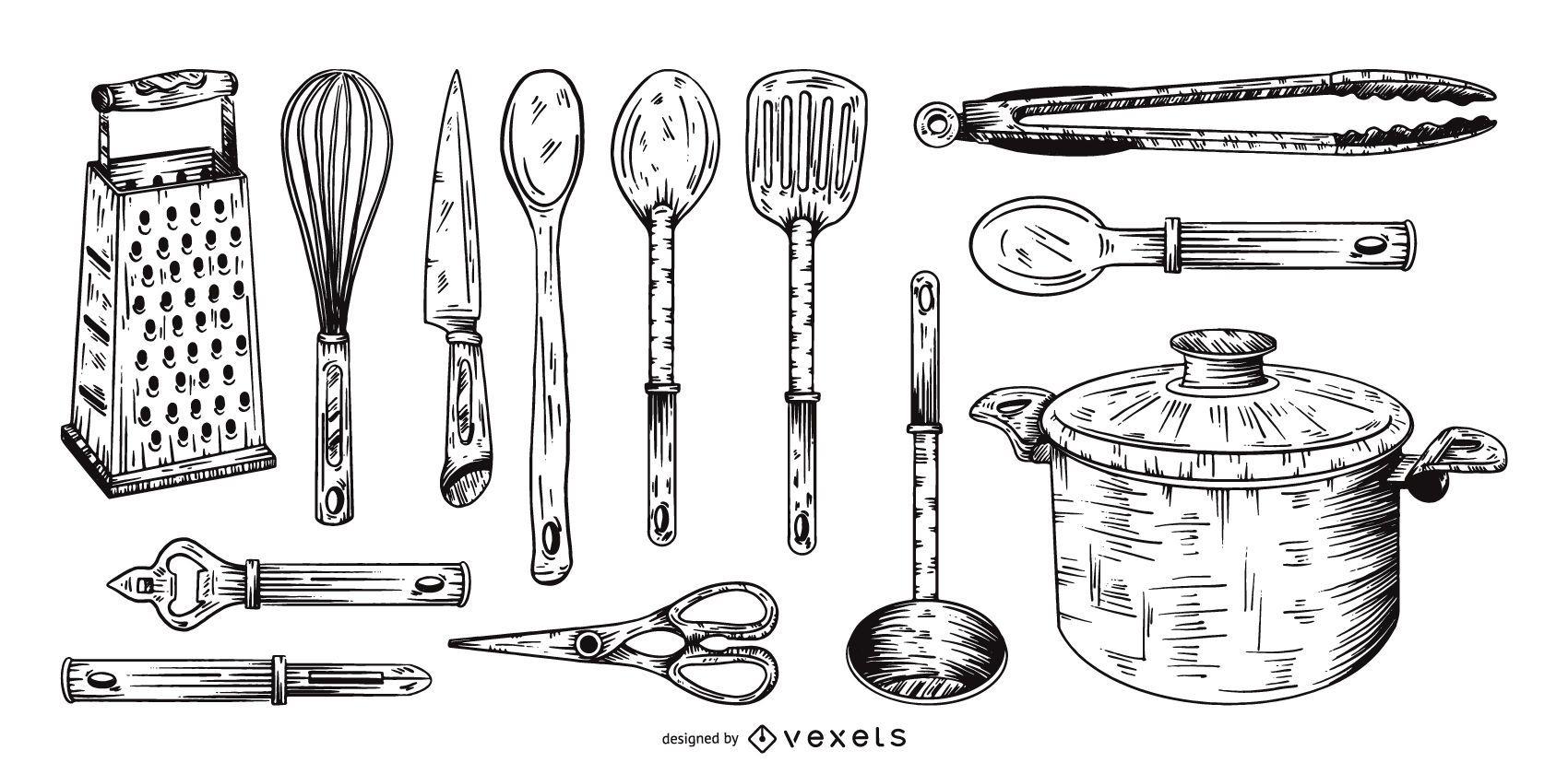 conjunto de colección de herramientas de cocina dibujadas a mano