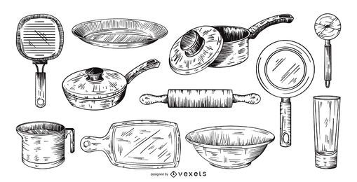 hand drawn kitchen tools collection set
