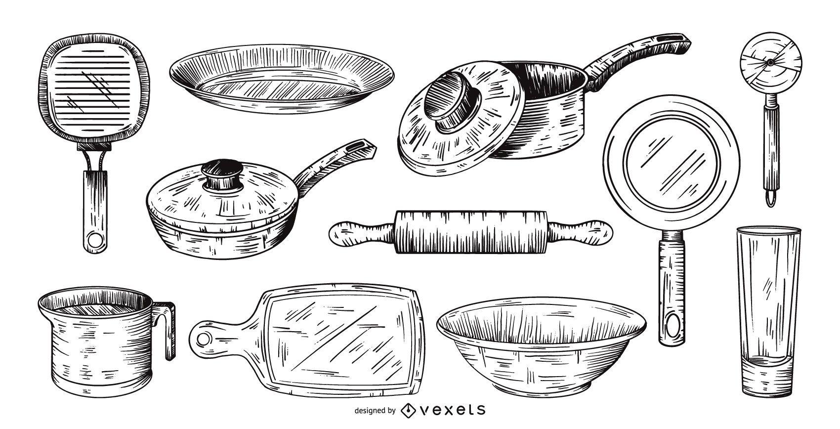 Conjunto de coleta de ferramentas de cozinha desenhado à mão