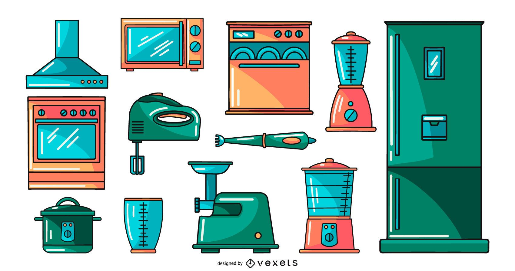 kitchen appliances illustration collection set