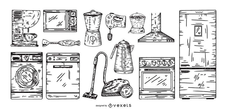 aparelhos de cozinha mão desenhado conjunto