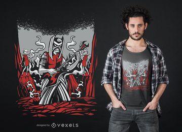 Design de camiseta demoníaca de metal
