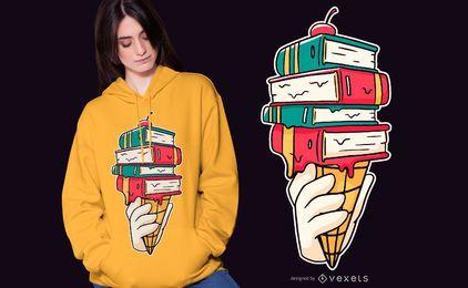 Design de camiseta de sorvete de livro