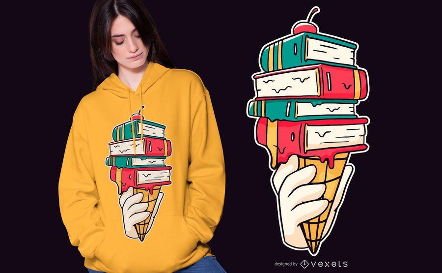Diseño de camiseta Book Ice Cream