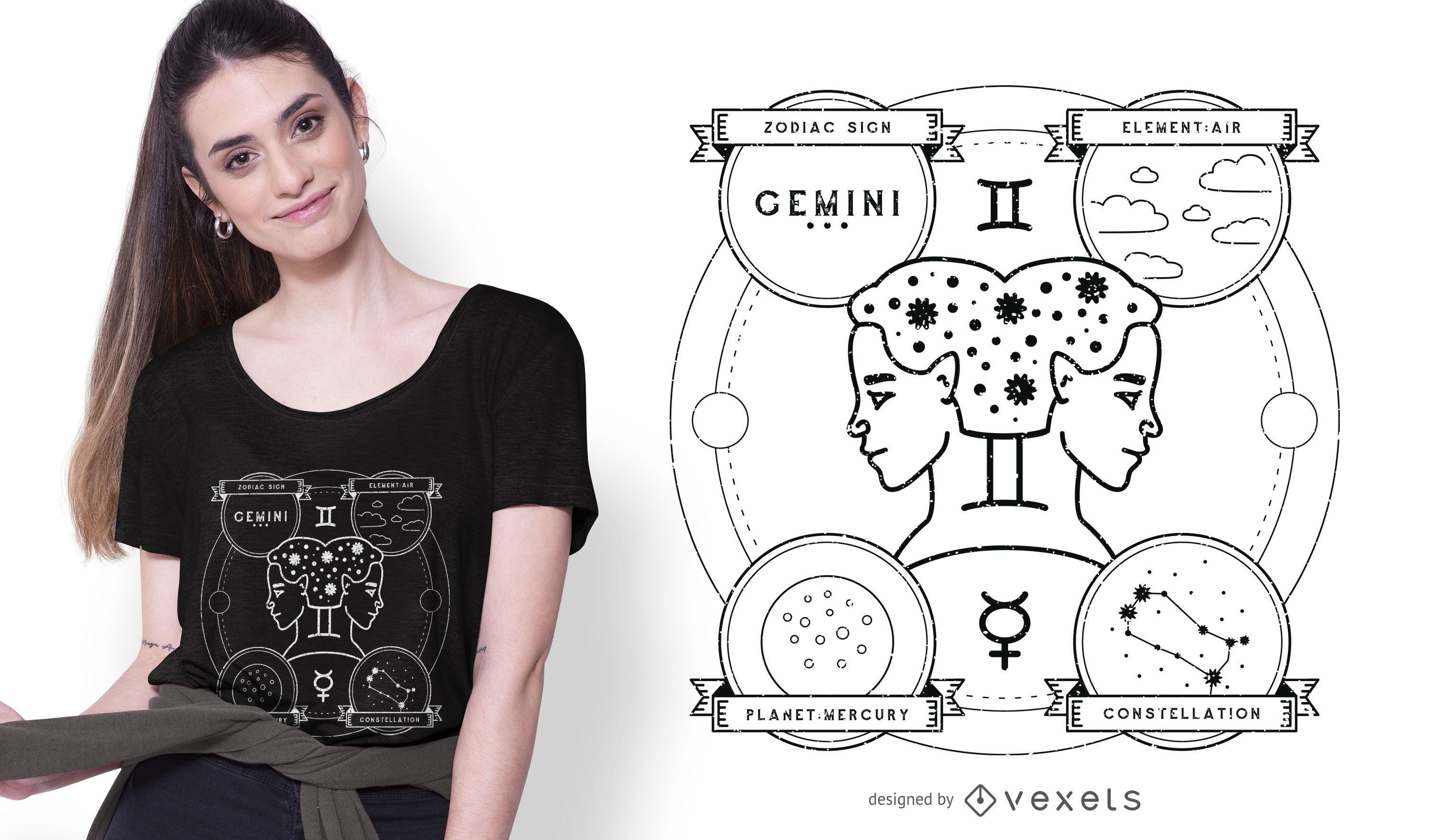 Diseño de camiseta Gemini Illustration