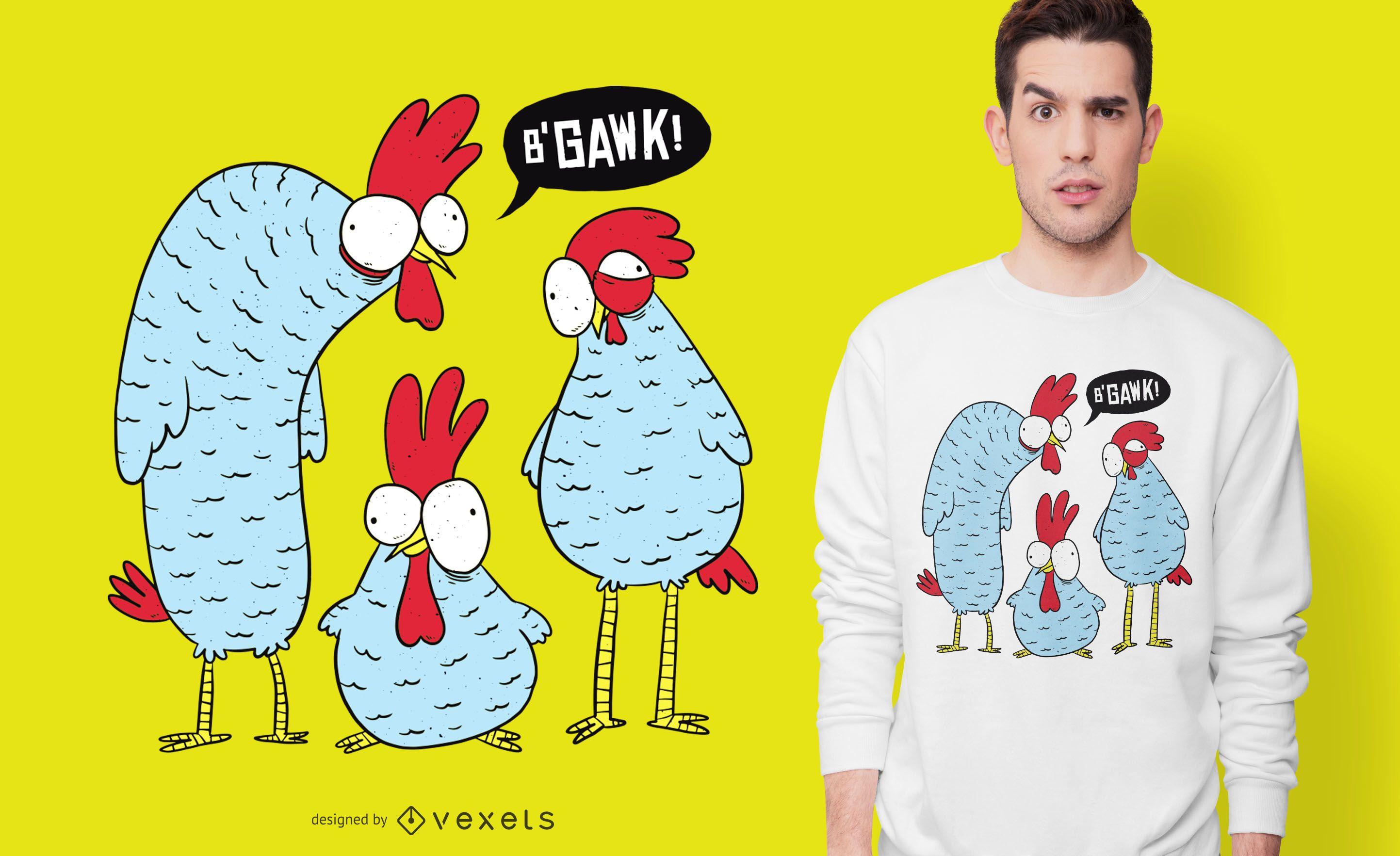 Diseño de camiseta Crazy Chickens