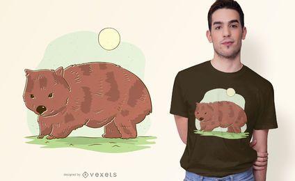 Diseño de camiseta de ilustración de Wombat