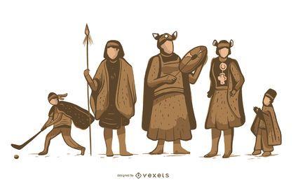 Paquete de personajes indígenas mapuche