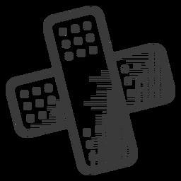 Icono de curitas en blanco y negro