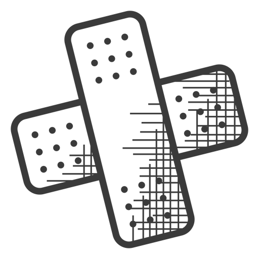 Icono de tirita blanco y negro