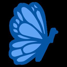 Mariposa azul lateral plana