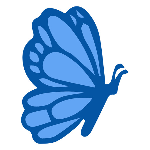 Blue butterfly side flat Transparent PNG