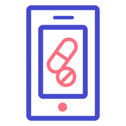 Cellphone pills stroke icon