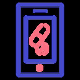 Icono de trazo de píldoras de teléfono celular