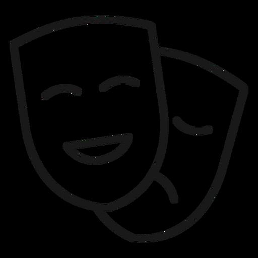Máscaras de comedia dramática trazo