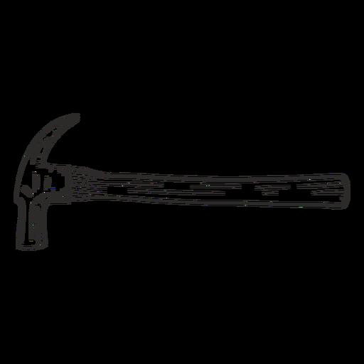 Construction hammer side hand drawn