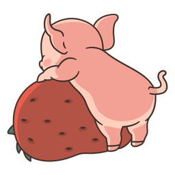 Cute pig behind illustration