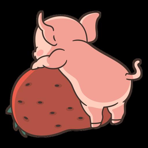 Cute pig behind illustration