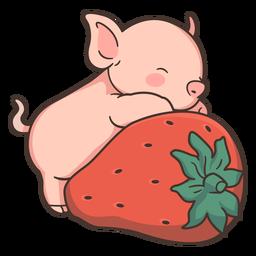 Niedliche Schwein Erdbeerillustration