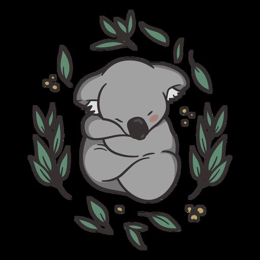 Linda ilustración de koala durmiendo