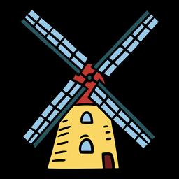 Ilustración de molino de viento danés