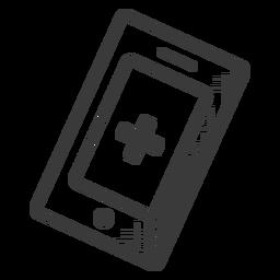 Ícone de celular preto e branco de emergência
