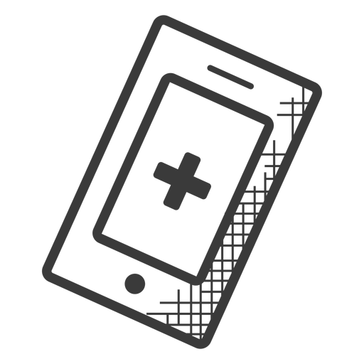 Emergency cellphone black and white icon