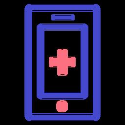 Icono de trazo de teléfono celular de emergencia