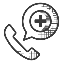 Emergency phone call black and white icon