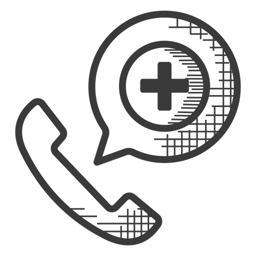 Emergency phone call black and white icon Transparent PNG