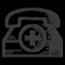 Ícone de telefone preto e branco de emergência