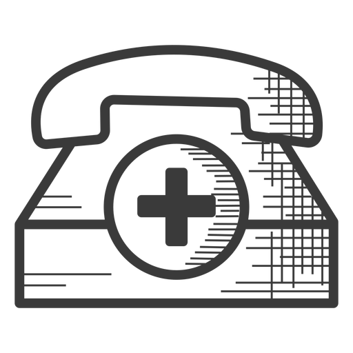 Emergency telephone black and white icon Transparent PNG