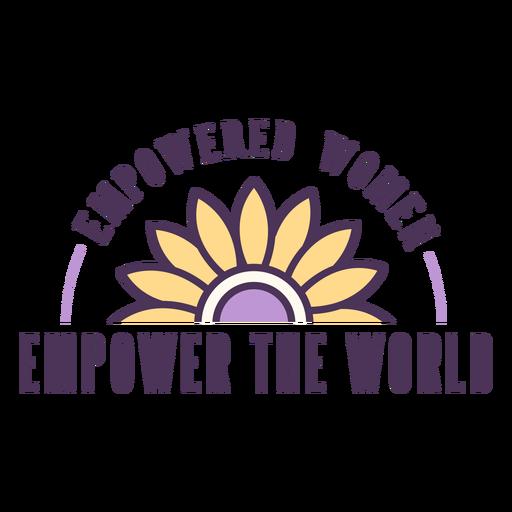 Mulheres empoderadas com emblema mundial