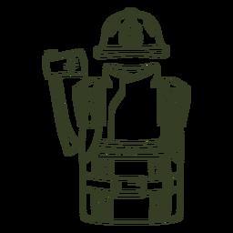 Trazo uniforme de bombero