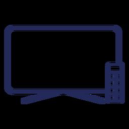 Ícone de traçado de controle remoto de televisão plana