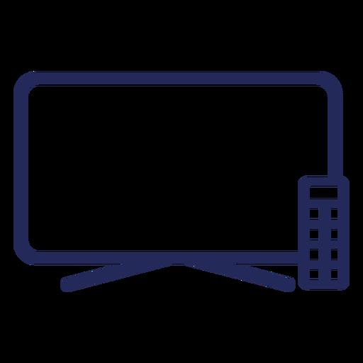 Icono de trazo de control remoto de televisión plana