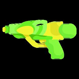 Pistola de agua amarilla verde plana