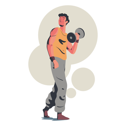 Happy man exercise character