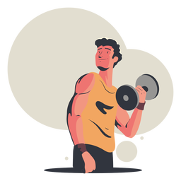 Happy man working out character