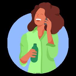Personagem de garrafa celular mulher feliz