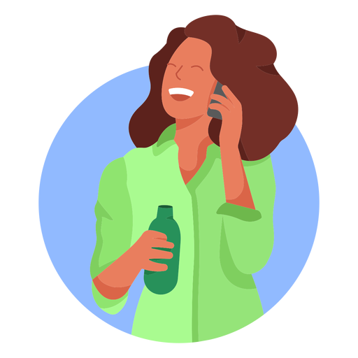 Happy woman cellphone bottle character Transparent PNG