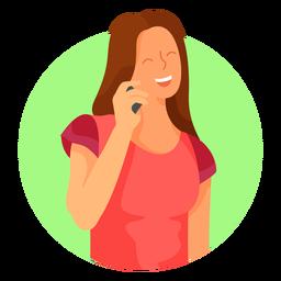 Personagem de celular mulher feliz
